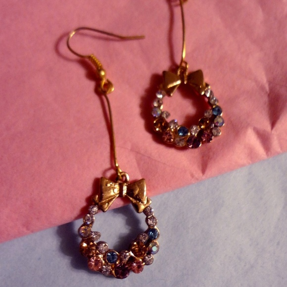 Jewelry Gold Rhinestone Christmas Wreath Earrings Poshmark